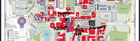 Campus map highlighting Ross building